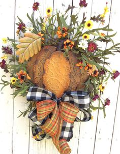 Fall Wreath Autumn Wreath Pumpkin Wreath Thanksgiving by Keleas