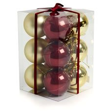 Wilko Christmas Bauble Decorations Red and Gold 60mm 12pk