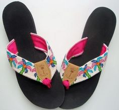 Needlepoint Flip Flops. My mom needlepointed an adorable pair for herself! Must do!
