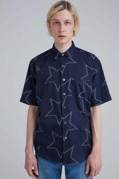 Our Legacy Initial Short Sleeve Shirt - Navy Star Print. Star Print, Shirt Sleeves, Initials, Button Down Shirt, Men Casual, Navy, Stars, Cotton, Mens Tops