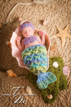 Newborn Baby Girl Purple Mermaid - Crown - Tail - Tiara - Photo Prop - Photography Prop - Size Newborn