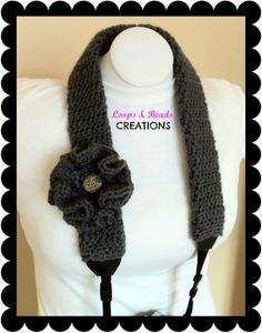 Camera Strap Cover - Gray | LoopsandBeadsCreations - Crochet on ArtFire