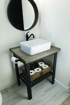 Ikea hack- DIY bathroom sink stand. Rustic modern sink base. Open stand with farmsink.