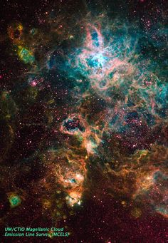 Also known as the Tarantula nebula, 30 Doradus is a region of the Large Magellanic Cloud and is one of the most active areas of star formation in the night sky. -  Image: UT/CTIO Magellanic Cloud Emission Line Survey [high-resolution] - Caption: Wired Science