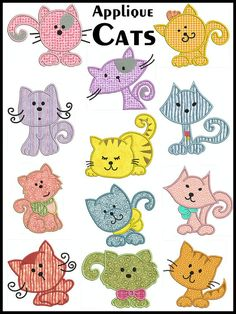 Set of 12 - CATS - Machine Applique Embroidery - Instant Digital Download via Etsy