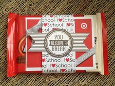Kit Kat you deserve a break gift. Made this for Kate's teacher. Scrapbook paper, printable tag & target gift card. 2013  http://eighteen25.blogspot.com/2013/05/you-deserve-break.html?m=1