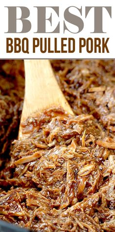 "EASY slow cooker tender, tangy sweet, smokey, BBQ Pulled Pork perfect for large gatherings, busy weekdays or whenever you are craving the ""Best"" BBQ pulled pork! #pork #BBQpork #pulledpork #BBQpulledpork #crockpot"