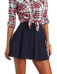 High-Waisted Solid Cotton Skater Skirt: Charlotte Russe