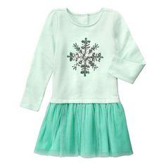 Girls Mint Stripe Snowflake Dress by Gymboree