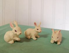 Trio Set of Bunny Figures  Vintage Resin by DivineOrders on Etsy, $17.00