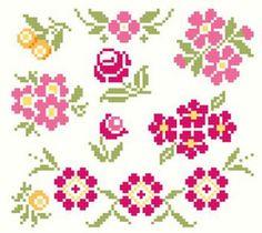 Colección de cruz de la vendimia de la puntada motivos florales de punto de cruz patrón PDF