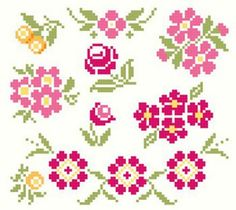 Collection of Vintage Cross Stitch Floral by blackphoebedesigns