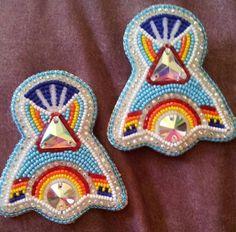 Earrings, Keen Ribbons & Beadwork (Cherokee)