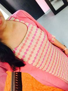 Cream pink n jolly good Churidar Neck Designs, Kurta Designs Women, Salwar Designs, Kurti Designs Party Wear, Salwar Pattern, Kurta Patterns, Dress Neck Designs, Blouse Designs, Neck Patterns For Kurtis