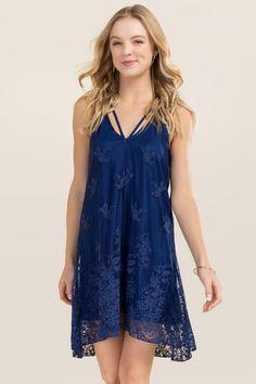 Lulu X Neck Lace Dress-Navy
