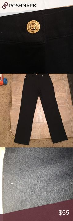 "St. John Sport Pants flexible, versatile use. these wide leg pants can dresses up or down for a classically chic look! solid black with gold detailing, there is a small snag on the right thigh. otherwise in EUC. 12.5"" rise, 32"" inseam. St. John Pants Wide Leg"