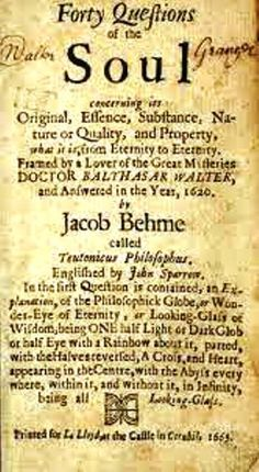 Carl Jung Depth Psychology: Carl Jung: I own the first English edition of Bohme's 40 Questions Concerning the Soul, 1647.