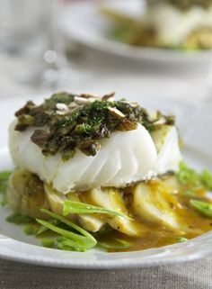 Baked cod with orange-fennel and herbed nut crust