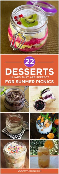 No picnic is complete without something sweet for you to dive into. And what can be cuter or more convenient than desserts in mason jars!