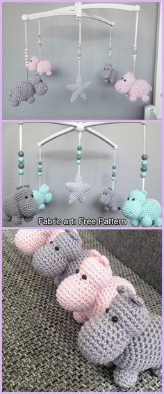 Crochet Hippo Mobile Free Pattern