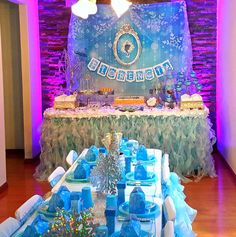 Pretty purple and blue Frozen birthday party! See more party planning ideas at CatchMyParty.com!