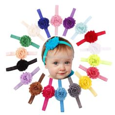 Baby girl headband 18 colors Shabby Chic Flower Elastic Headbands for Girls Infant Flower Headband Boutique Hair Bows