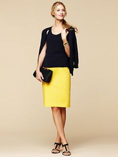 I'll reverse this - wear black skirt on the bottom and a pop of yellow on top.