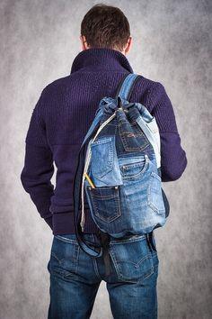 Unique Patchwork Upcycled Eco Jeans Denim Backpack Sailor Bag with Pockets - backpack Pockets by bRucksack on Etsy Patchwork Jeans, Diy Jeans, Mochila Jeans, Jean Diy, Jean Backpack, Jean Purses, Diy Sac, Denim Handbags, Denim Purse