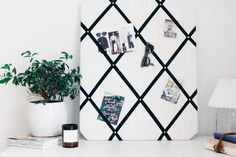 LINEN NOTICE BOARD W/ BLACK RIBBON