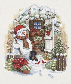 """Скачать Вышивка """"Садовый снеговик"""" бесплатно. А также другие схемы вышивок в разделах: Снеговики, Dimensions, Новый год"""