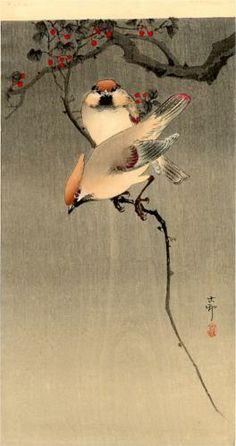 Starlings and Cherry Tree :::  Artist: Ohara Koson   Born: 1877; Kanazawa, Japan - Died: 1945; Tokyo, Japan -  Place of Creation: Japan - Style: Shin-hanga - Genre: bird-and-flower painting - Technique: woodblock print - Material: paper