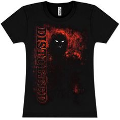 Black babydoll t-shirt featuring the Disturbed logo and fire design.