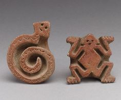 Two Flat Stamps Date: century Geography: Costa Rica Culture: Atlantic Watershed Medium: Ceramic Pottery Designs, Pottery Art, Land Art, Costa Rica Art, Indian Ceramics, Indian Musical Instruments, Ceramic Sculpture Figurative, Ceramic Tools, Art Premier