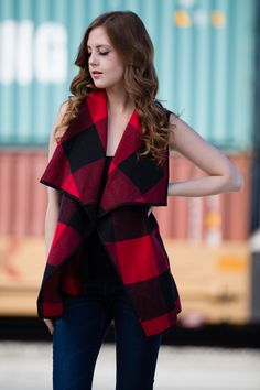 Red and Black Plaid Vest