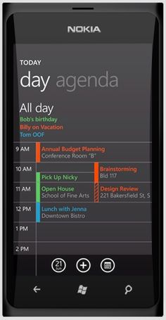 Nokia W9: Windows 7 Phone concept calendar ui