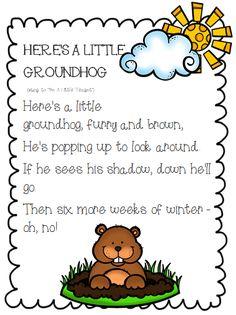 Love Groundhog s day! Today the Groundhog Phil seen his Shadow. 6 more weeks of winter! Kindergarten Groundhog Day, Groundhog Day Activities, Happy Groundhog Day, Holiday Activities, Kindergarten Poetry, Kindergarten Activities, Preschool Songs, Kids Songs, Preschool Winter