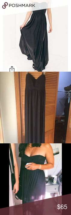Urban Outfitters floor length strapless dress 64% Modal, 36% Polyester. Only worn once for my senior prom. Altered to have built-in cups, fits a size 34B but does have some stretch. Came unhemmed--easy to alter length. Urban Outfitters Dresses Prom