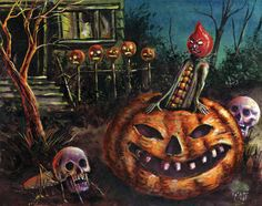 original Halloween painting by Matthew Kirscht