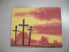 cross painting Jesus religious art by cullmanlaurasart on Etsy. $15.00, via Etsy.