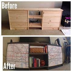 Look what I made! A DIY IKEA hack - TV stand/entertainment center. I used two RASTs and a custom cut board... easy peasy!