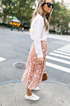 a pink lace skirt and white button down blouse with white sneakers | merricksart.com