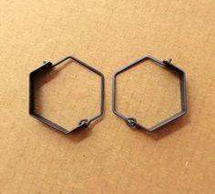 Mini Oxidized Silver Hexagonal Earrings