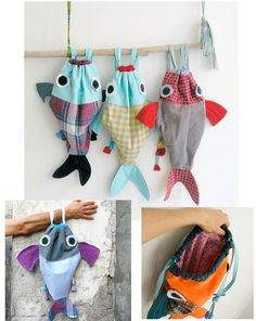 15 New Ideas Sewing Bags Drawstring Backpack Tutorial Fabric Crafts, Sewing Crafts, Sewing Projects, Craft Projects, Diy Crafts, Sewing Kits, Geek Crafts, Drawstring Backpack Tutorial, Fish In A Bag