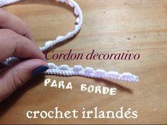 Cordón decorado para borde- Crochet irlandés - YouTube