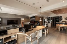 Gallery featuring a lavish open-concept all-natural-wood apartment interior design in Taipei, by PartiDesign. Apartment Interior Design, Modern Interior Design, Interior Architecture, Tv Cabinets, Open Kitchen, Open Concept, Dining Area, Living Room, Behance