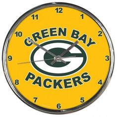 Green Bay Packers Clock Round Wall Style Chrome Gold Special Order