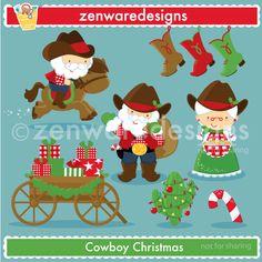 Cowboy Santa Christmas Cliparts