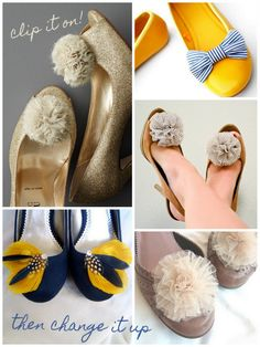 change up shoes with DIY shoe clips Diy Clothes And Shoes, Up Shoes, Diy Clothing, Free Shoes, Comfy Shoes, Shoe Makeover, Shoe Refashion, Diy Kleidung, Shoe Crafts