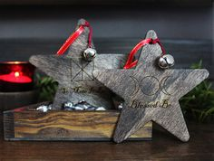 Set of 2 Handmade Witchy Yule Ornaments by GrayVervain on Etsy