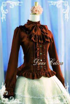 Princess line blouse with frills and pintucks, and a large bow - Dear Celine Quirky Fashion, Lolita Fashion, Cute Fashion, Gothic Fashion, Asian Fashion, Lolita Hair, Lolita Dress, Visual Kei, Gossip Girl